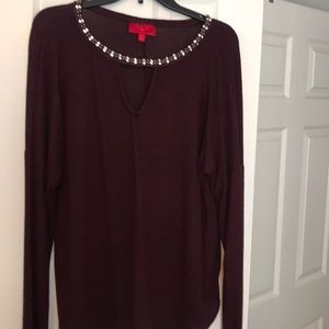 Burgundy knit top